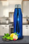 Picture of Single Walled Stainless Steel Fridge Water Bottle   PVD Coating Blue Water Bottle for Kids, Office, Gym, School   Water Bottle Leak Proof and Light Weight Water Bottle, Blue (900 ML)