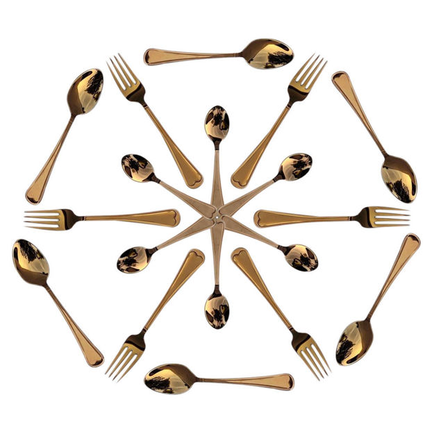 Picture of Luxury PVD Coating Gold Stainless Steel Spoon Set Dine Steel Cutlery Set Long Handle for Iced Tea Spoon Set, Butter Knife,Tea Spoon, Dessert Salad Fork with Hanging Stand (27 Pcs Set)