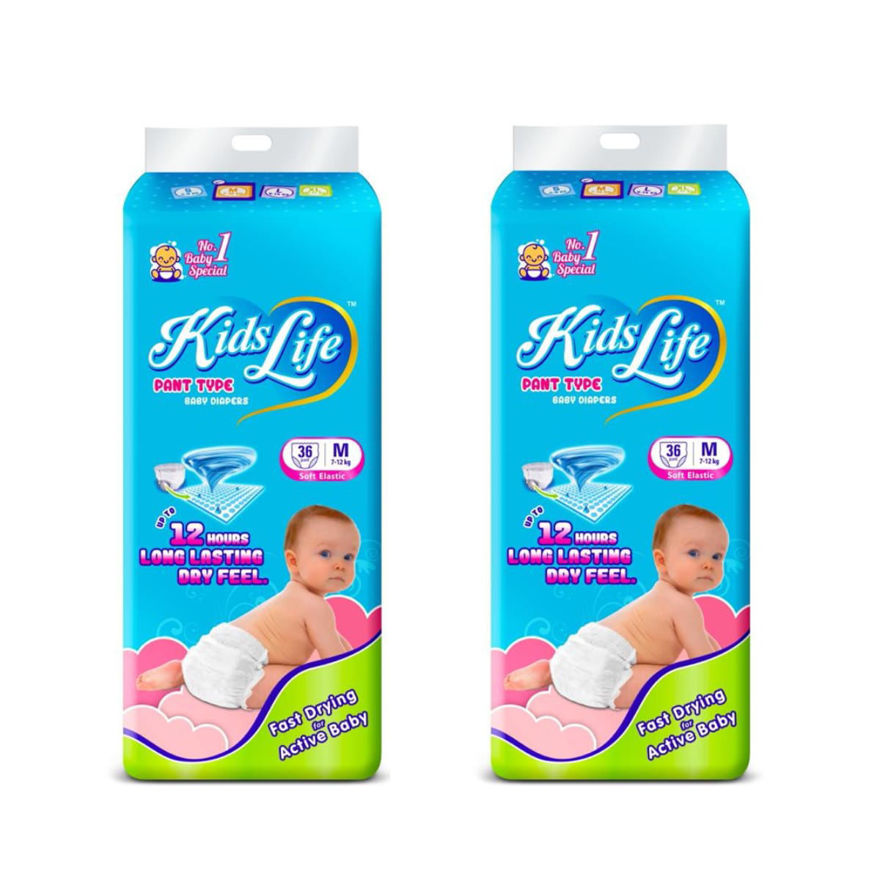 Picture of Pant Style Baby Diaper 12 Hours Protection Medium Size 72 Pcs Pack