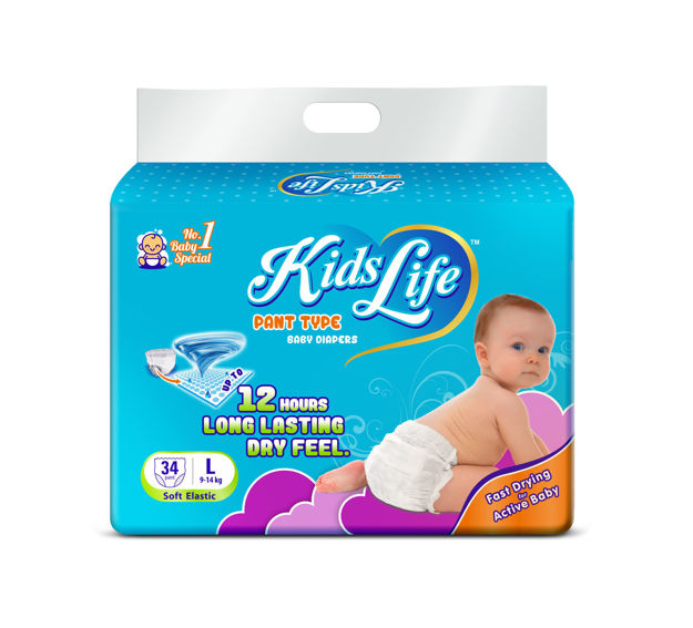 Picture of Pant Style Baby Diaper 12 Hours Protection Large Size 34 Pcs Pack