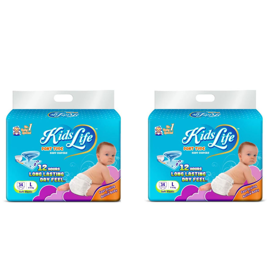 Picture of Pant Style Baby Diaper 12 Hours Protection Large Size 68 Pcs Pack