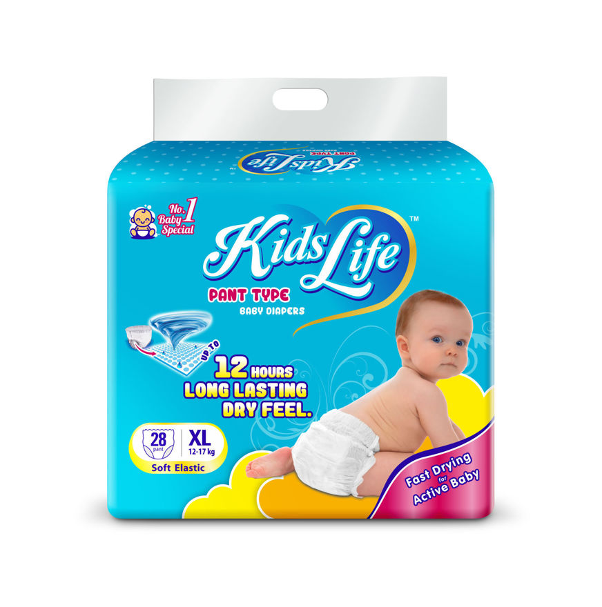 Picture of Pant Style Baby Diaper 12 Hours Protection Extra Large Size 28 Pcs Pack