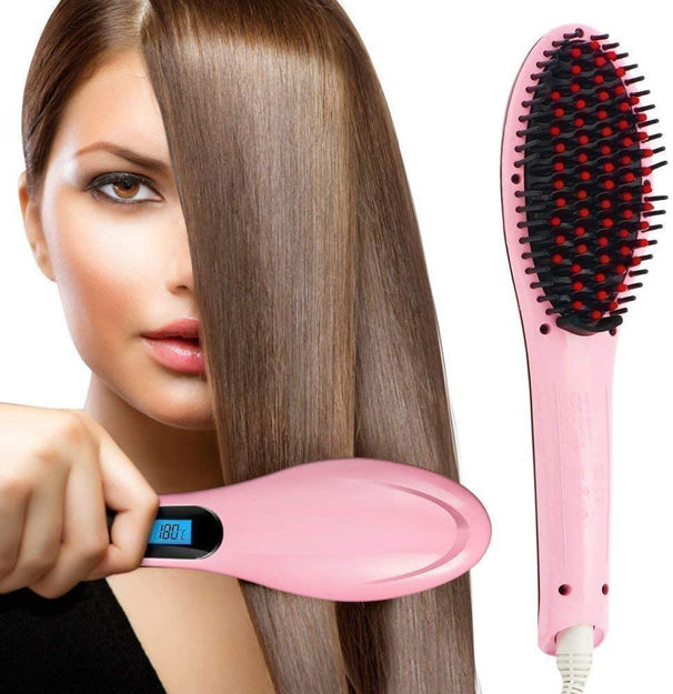 Picture of Hair Straightener Ceramic Hair Straightening Brush with LCD Screen , Temperature Control Display Comb Hair Electric Straightener For Woman, Girls, Man, Simply, Machine, Brush