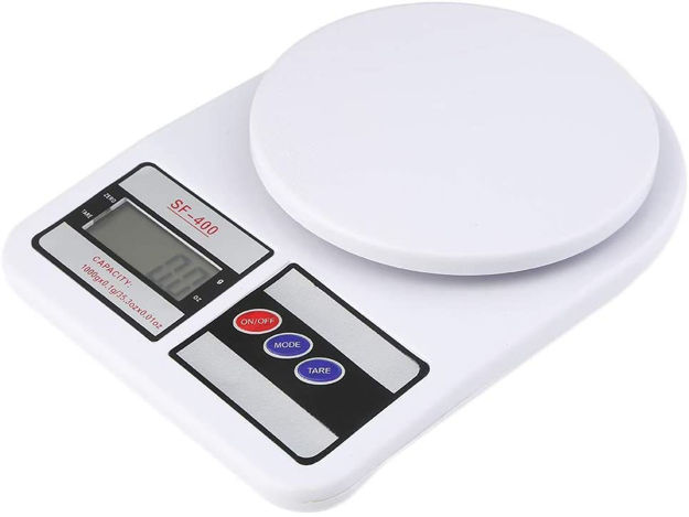 Picture of Digital Electronic Ultimate 10 kg Kitchen Weighing Machine Scale with Backlit LCD for Shop, Cake, Kids Food, Spices, Vegetable, Liquids, Chicken, Fruits (White)