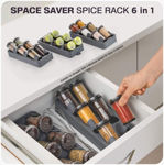 Picture of Non-skid 3 Slanted Tier Hanging 6 Jars Spice Rack