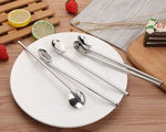 Picture of 4 Set Drinking Staws With Attached Spoon Stainless Steel
