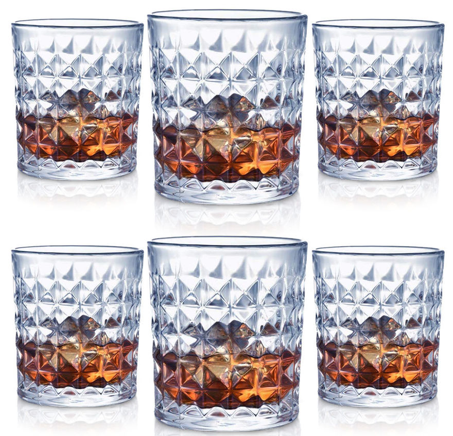 Picture of Beer Whiskey Crystal Diamond Design Glasses for Whiskey Cocktails Bourbon Scotch with Luxury Gift Box (300ml, 6 Glass)