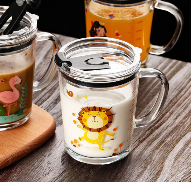 Picture of Glass Coffee Mug with Straw and lid Cartoon Creative Kid's Glass Milk Cup Juice Glass Water Bottle Gift Set (Pack of 1)