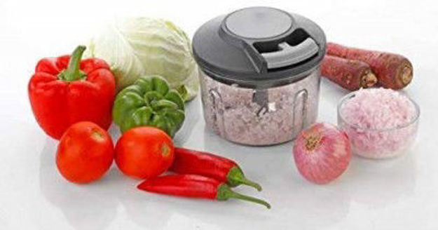 Picture of Handy Mini Plastic Fruit and Vegetable Chopper with 3 Blades and Pull Cord Technology