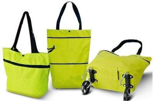 Picture of Polyester Trolley Luggage Bags Traveling Vegetable Grocery Clothing Bag with Light Weight and Medium Size with Wheels for Girls Boys Women Ladies Men