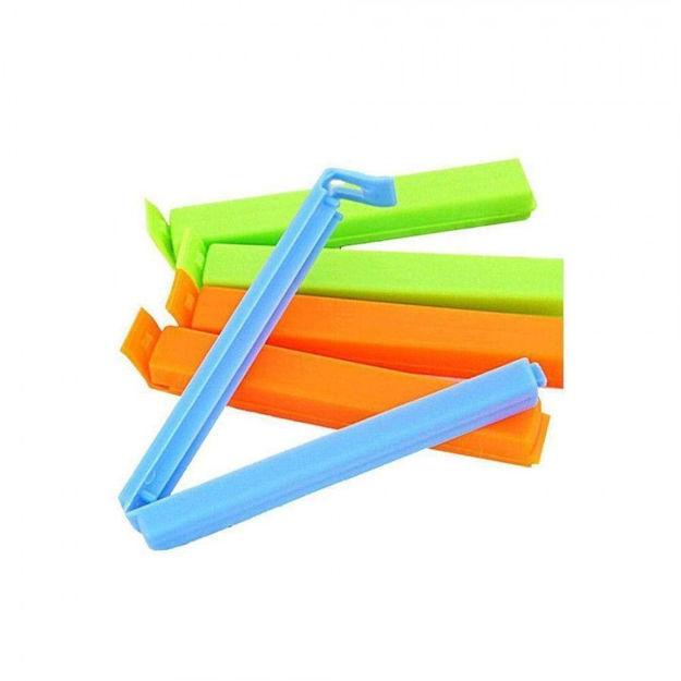 Picture of Food Snack Plastic Bag Clip Sealer   Packet Sealer Clamps   Manual Vacuum Bag Sealer   Food Pouch Clip   Bag Zipper for Home Kitchen (Multicolor)