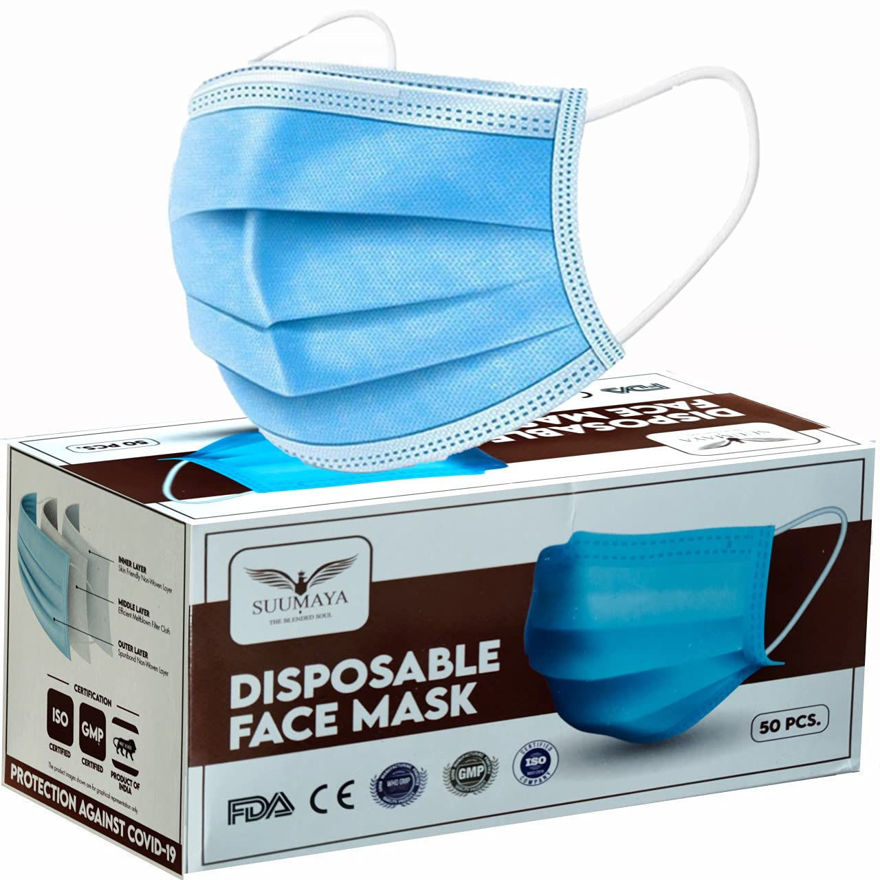 Picture of 3 ply Surgical disposable face mask With Nose Clip Certified by SITRA, CE, ISO & GMP with Bacterial Filtration BFE> 97% (Pack of 50)