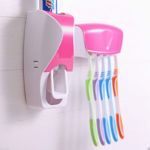 Picture of Multy color Toothbrush Holder with Cover Automatic Toothpaste Dispenser Set Dustproof with 3M Sticky Suction Pad Wall Mounted Kids Hands Free Toothpaste Squeezer for Bathroom (Multi)