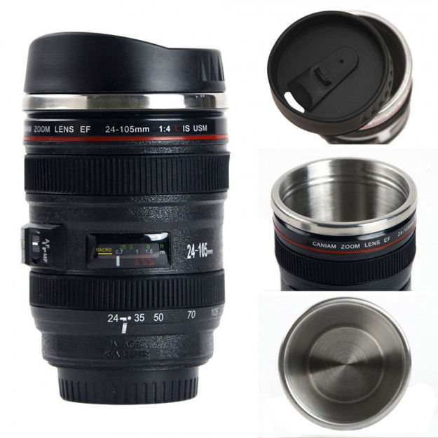 Picture of Steel Insulated Plastic Camera Lens tea Coffee flask Mugs with Leak proof Lid For Gifting idea  Dslr Camera Lens Shaped Travel Thermos Cup