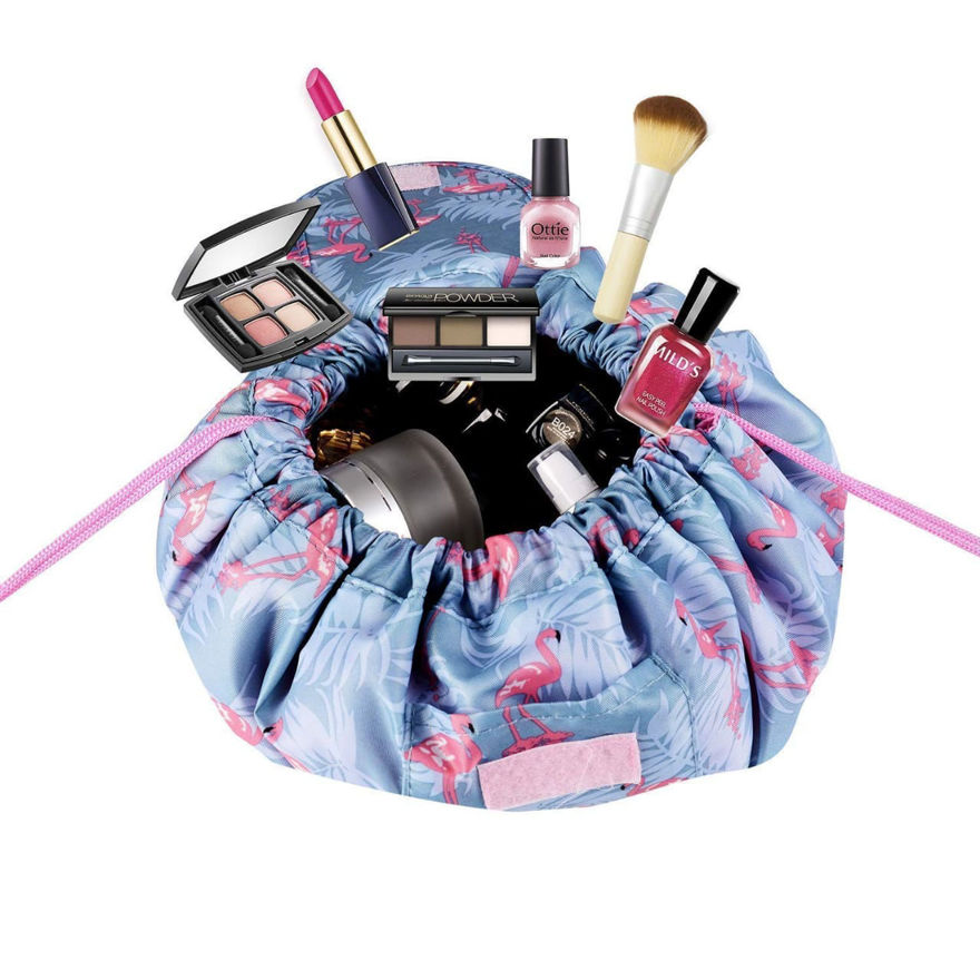 Picture of Waterproof Drawstring Makeup Pouch Large Capacity Lazy Cosmetic Bag Travel Makeup Bag Multifunction Storage Organizer Portable Toiletry Bags for Women (Multi Color & Design)