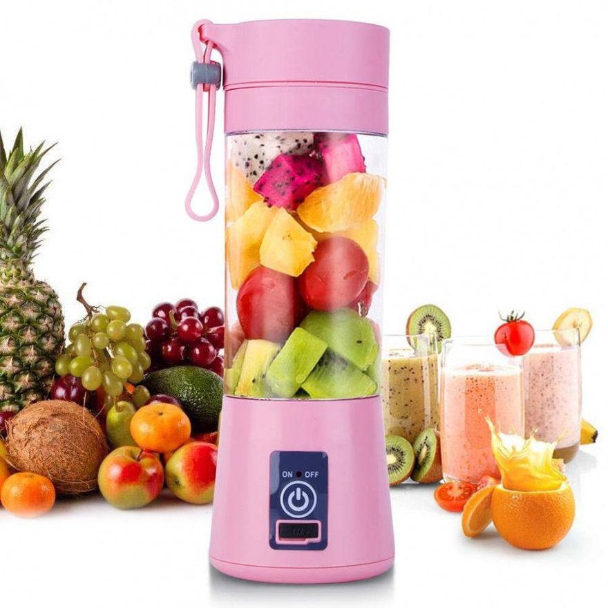 Picture of New Juicer Portable Electric USB Juice Maker Juicer Bottle Blender Grinder Mixer,4 Blades Rechargeable Bottle with (Multi color)