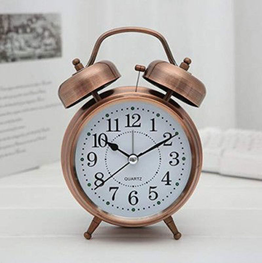 """Picture of BONDWET Metal 5"""" Twin Bell Vintage Desk Battery Operated Loud Alarm Clock with Backlight, Silent Sweep Seconds for Heavy Sleepers for Bedroom"""