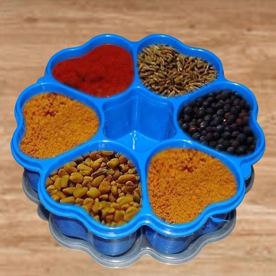 Picture of Heart shape spice rack Kitchen Rack For Kitchen Storage Accessories Kitchen Organizer/ Multipurpose Masala/Spice Box Container Plastic (Heart, Blue/multicolour)