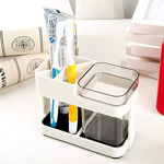 Picture of Cup Toothbrush Toothpaste Stand Holder Bathroom Storage Organizer,Plastic