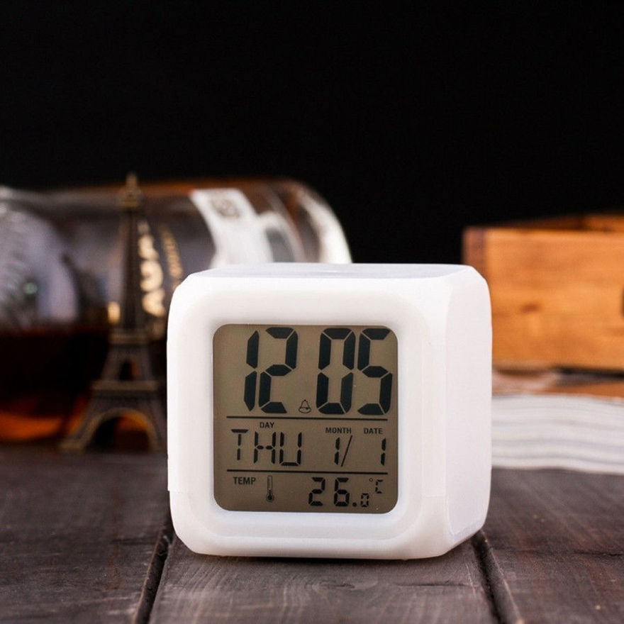 Picture of mart Digital Alarm Clock for Bedroom, Heavy Sleepers, Students with Automatic 7 Colour Changing LED Digital Alarm Clock with Date, Time, Temperature for Office and Bedroom