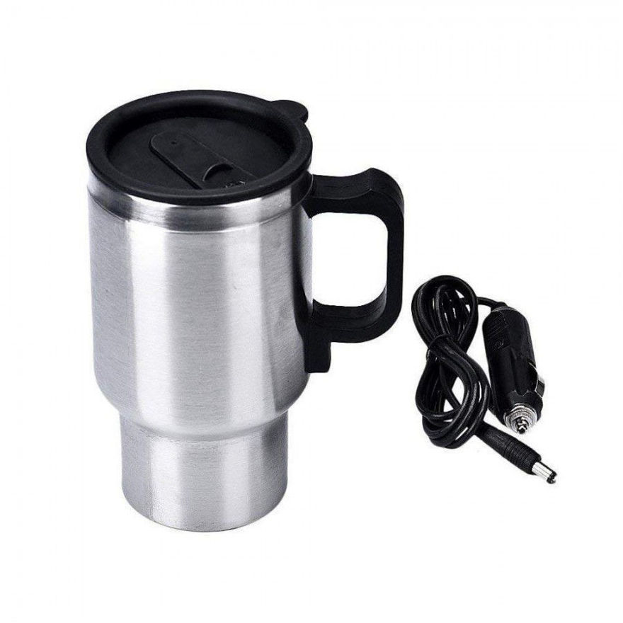 Picture of Stainless Steel Travel Outdoor Heated Warm Car Plug Electric Mug Kettle