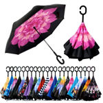 Picture of Umbrella Windproof, Reverse Umbrella, Umbrellas for Women with UV Protection, Upside Down Umbrella with C-Shaped Handle (Multi Color-1 pcs)