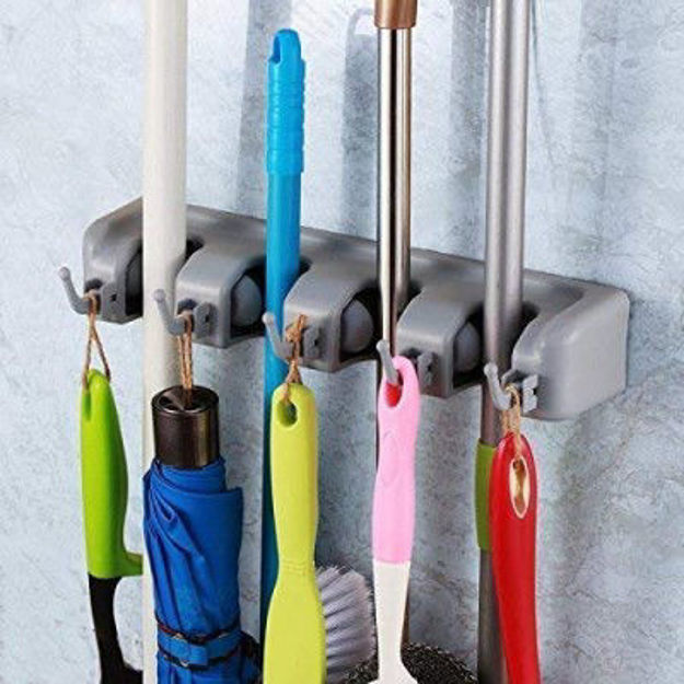 Picture of Plastic Multipurpose Wall Mounted Magic Holder 4 Slot Broom Holder and Mop Organizer Storage 4 Position 5 Hooks for Kitchen Garden(Multicolor)