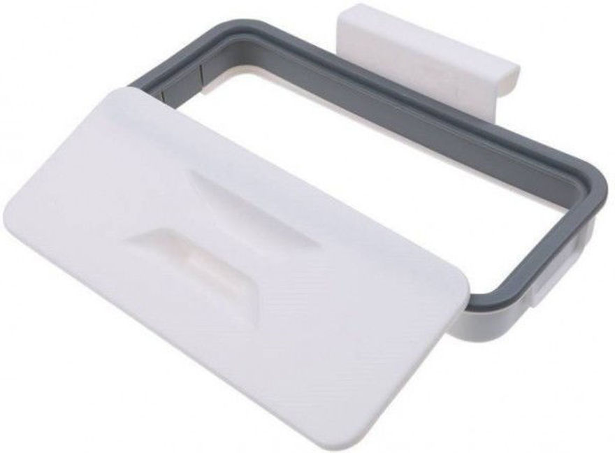 Picture of ABS Hanging Kitchen Cupboard Door Back Style Stand Trash Attach Holder Garbage Bags Storage Rack Accessories, White/Grey, Standard Size