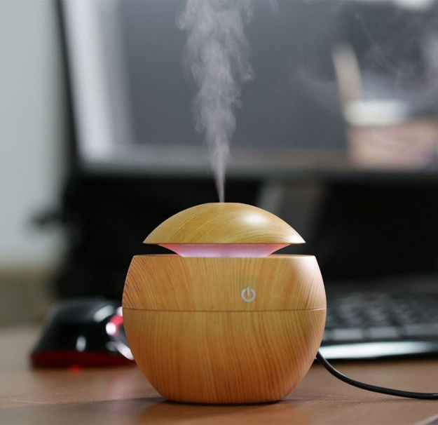 Picture of Magic Wooden Cool Mist Humidifiers Essential Oil Diffuse Aroma Air Humidifier with Led Night Light Colorful Change for Car, Office, Babies, for home, air humidifier for room (multi)