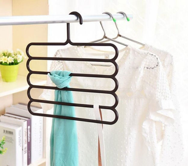 Picture of 5 Layer Multipurpose Multi-Layer Hangers for Clothes Shirts Wordrobe Ties Pants Space Saving Plastic Hangers (Assorted Colours) - Pack of 3
