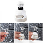 Picture of ABS, Silicone, Stainless Steel 360 Degree Rotating Water-Saving Sprinkler, Faucet Aerator, 3-Gear Head Nozzle, Silver, Painted Finish