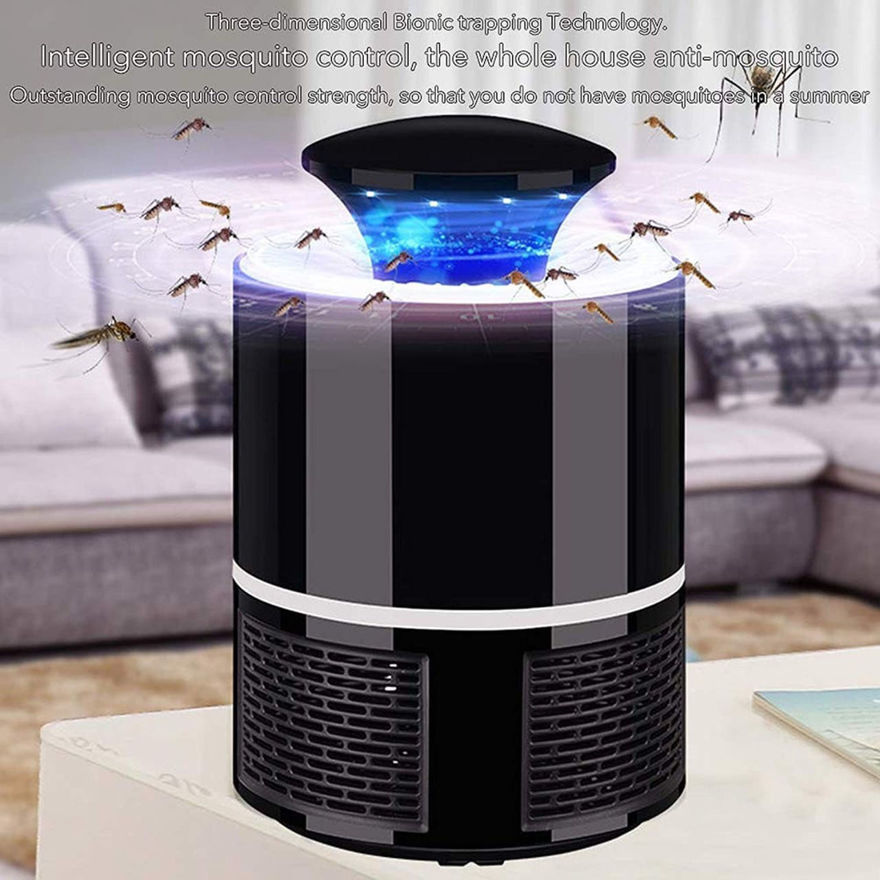 Picture of 360 Degree Black Mosquito Enterprise Smart Home USB Mosquito Lamp Electric Mosquito Trap Electric Bug Zapper Indoor LED Strong Fan Suction Mosquito Lamp USB Power (Black Color 1 Pcs)