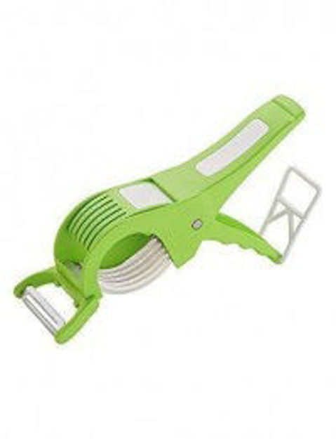 Picture of 2 in 1 Stainless Steel 5 Blade Vegetable Cutter and Peeler with Lock System (Multicolor, Set of 1)