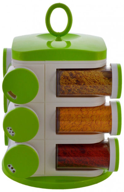 Picture of Unbreakable Plastic Multipurpose Masala Rack,Spice Box 12 PCS Green ABS Material