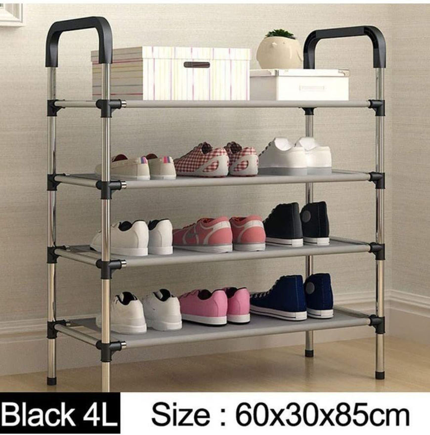 Picture of Shoe Rack Organizer 4 Layer Cabinet Multipurpose Stand 4-Tier Book Storage Shelf  for 12 Pairs of Shoes for Closet Entrance Door Hallway Home Kitchen and Office 60 x 30 x 85 cm - Multi Colour