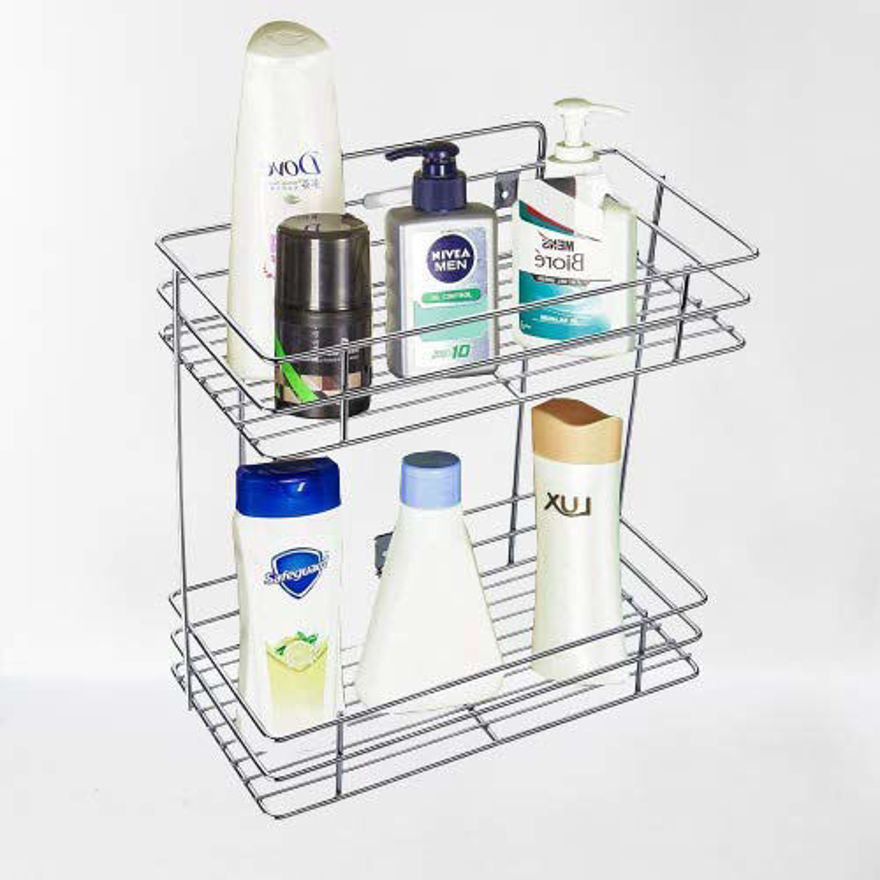 Picture of Stainless Steel 2 Layer Wall Mount Kitchen Rack Organizer Bathroom Shelves Kitchen Container