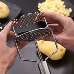 Picture of Potato Masher With Spring Stainless Steel Potato Hand Masher for Dateable Potato Baby Food Pav Bhaji Egg  Use in Kitchen Utensils Machine (Silver)