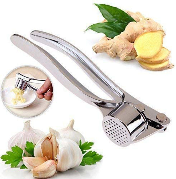 Picture of Stainless Steel Multi-Function Manual Garlic Crusher Presser  Portable Ginger Press Mincer Grinding Squeeze Slicer Chopper Cutter for Kitchen
