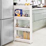 Picture of 4 Tier Slim Multipurpose Storage Rack - Space Saving Storage Organizer Shelf with Wheels - 100x54x12cm (White)