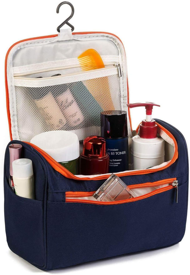 Picture of Cosmetic Makeup Storage Organizer Travel Case Bag Grooming Kit Travel Kit with Hook Makeup Organizer for Women Cosmetic Organizers Pouch (Navy Blue)