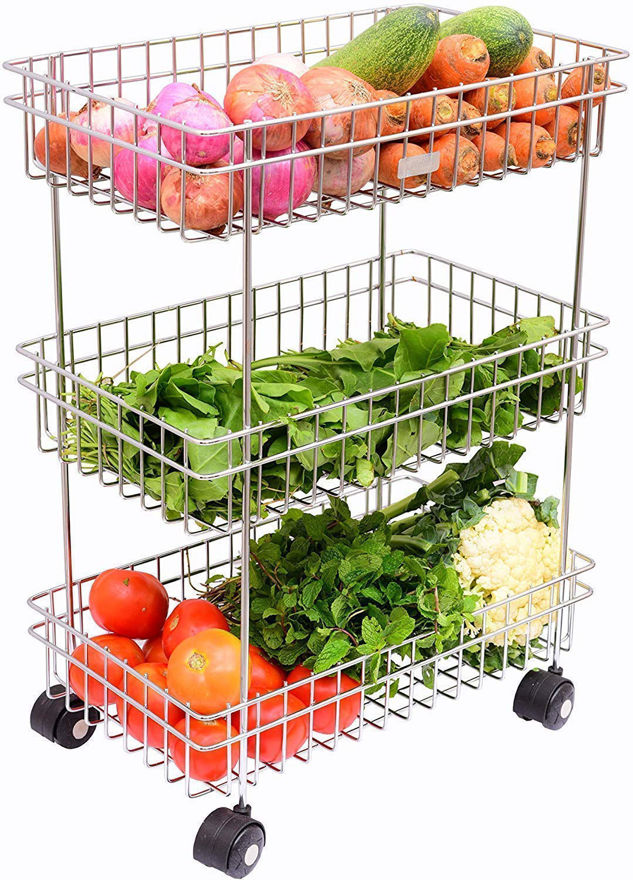 Picture of 3 Layer Stainless Steel Fruit and Vegetable Storage Stand Basket Trolley Modern Kitchen Storage Rack (Silver)