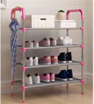 Picture of Shoe Rack Organizer 4 Layer Cabinet Multipurpose Stand 4-Tier Book Storage Shelf  for 12 Pairs of Shoes for Closet Entrance Door Hallway Home Kitchen and Office