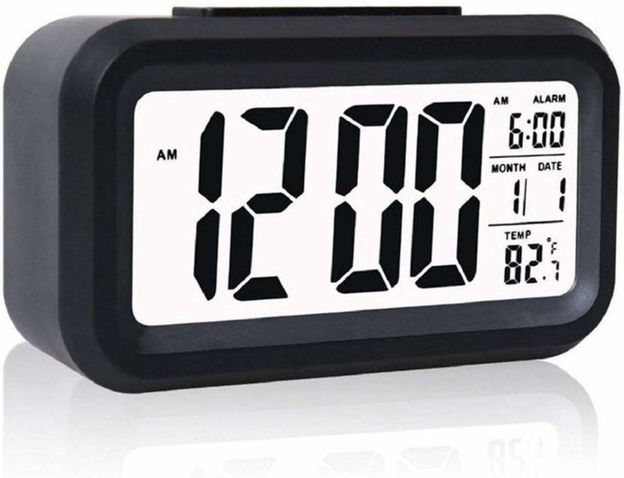 Picture of Digital Alarm Clock Calendar Snooze Light Smart Battery Operated with Automatic Sensor Date And Temperature Indoor Multifunctional Alarm Clock for Student Bedroom Home and Office