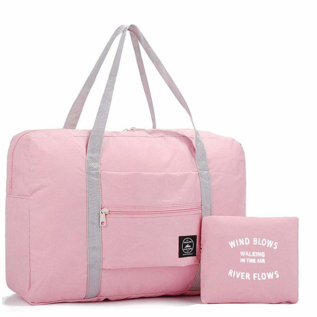 Picture of Travel Foldable Nylon Duffle Tote Bag Portable Waterproof Handbag  Folding Sport Weekend Shopping Luggage Bag Gym Sports Bag for Women Girl 32 L