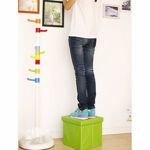 Picture of Cube Shape Sitting Stool with Storage Box Living Foldable Storage Bins Multipurpose Clothes, Books and Toys Organizer with Cushion Seat Lid