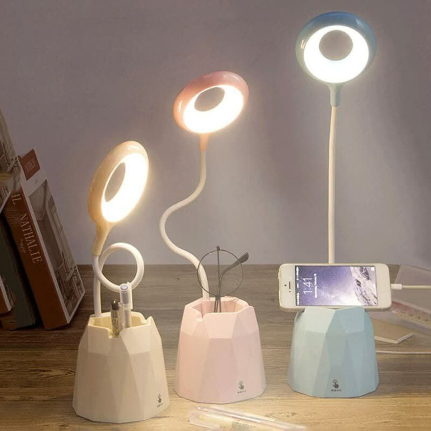 Picture of LED Rechargeable Desk Lamp With Organizer, Phone Holder, Night Light, Pin Stand Table Lamp for Dorm Room Study Desk (Multicolor)