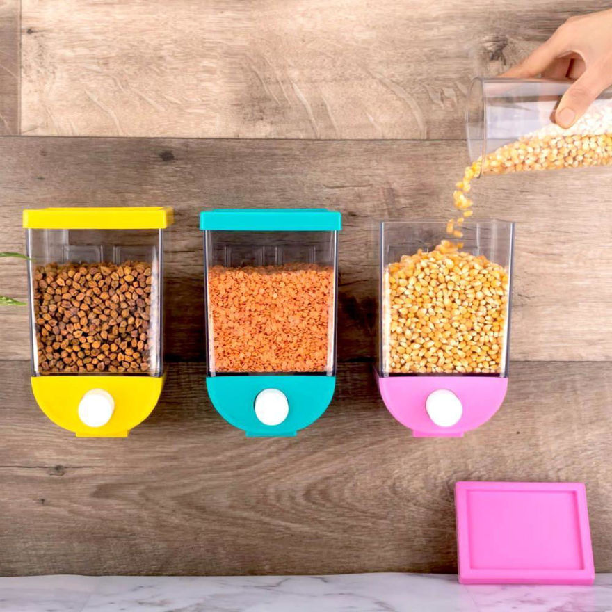 Picture of Wall-Mounted Plastic Kitchen Push Container for Pulses, Beans, Grain, Nuts, Oatmeal and Candy Storage Dispenser, Big Size 1500 ML