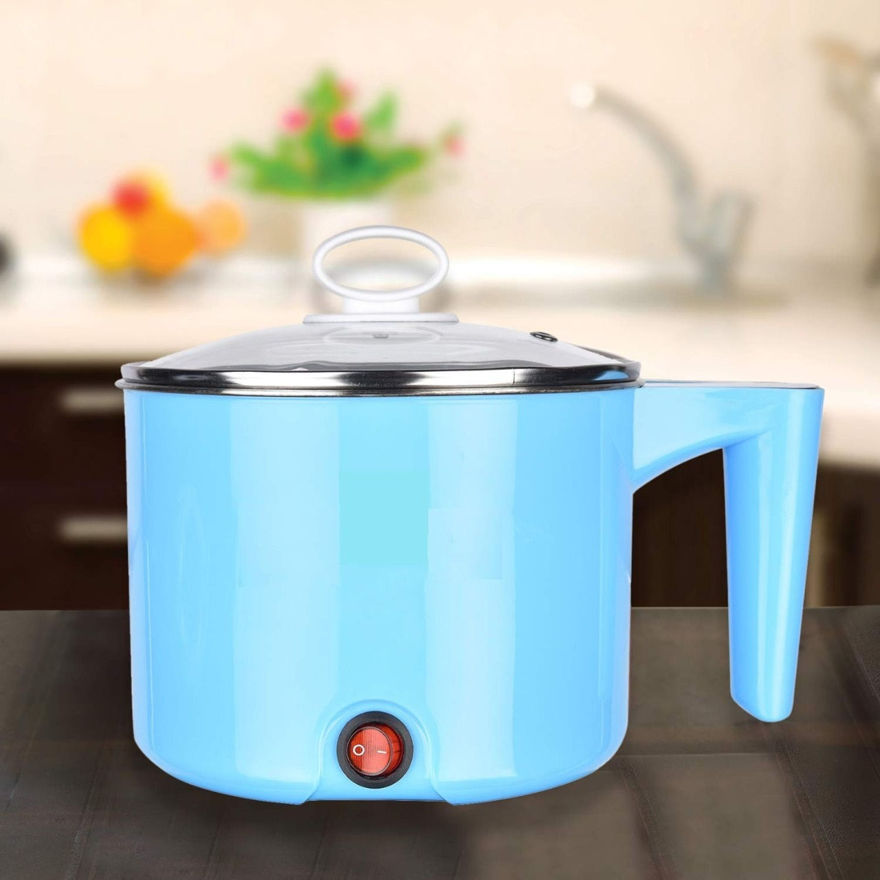 Picture of Electric 1.5 L Multi Cooker Kettle with Concealed Base Multifunction Cooking Pot Noodle Maker Egg Boiler Vegetable and Rice Cooker and Steamer (Blue)