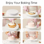 Picture of Rotating Cake Turn Table 11 Inch Turns Smoothly Revolving Cake Stand White Cake Decorating Kit Tools Accessories Supplies for Decoration