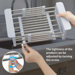 Picture of Adjustable Stainless Steel Expandable Kitchen Sink Dish Drainer, Dish Rack for Kitchen, Vegetables and Fruits Washing Drying Basket Kitchen Sink Organizer Tray